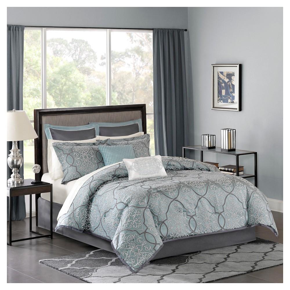 Blue Octavia Jacquard Complete Multiple Piece Comforter