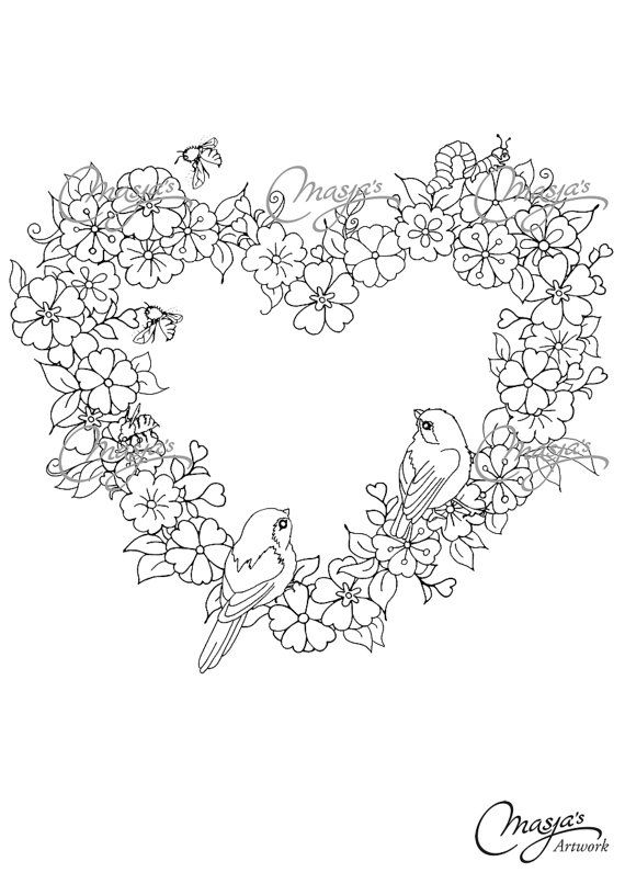 Masja S Flower Heart Birds Hand Drawn Coloring Page Heart
