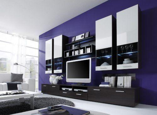 moderne wohnwand vitrine anbauwand wohnzimmer mÖbel wenge, Möbel