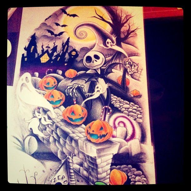 Nightmare Before Christmas Tattoo Design part two | Christmas ...
