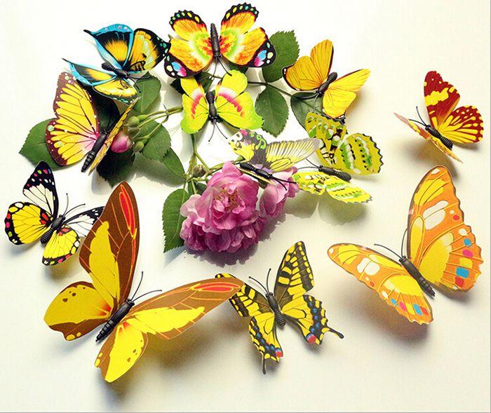 1 Unidades 3D Mariposa Tatuajes de Pared de PVC Multicolor 3D ...