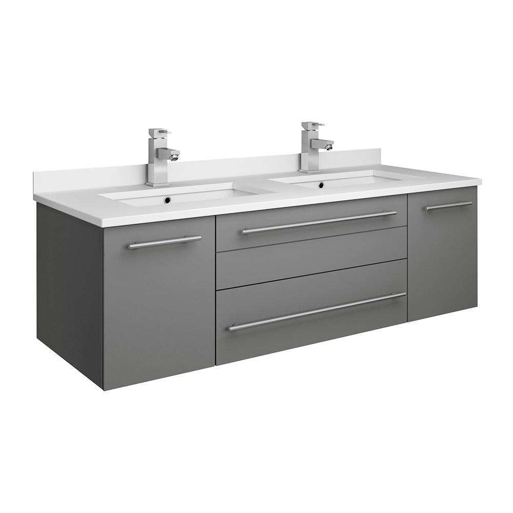 Fresca Lucera 48 In W Wall Hung Bath Vanity In Gray With Quartz