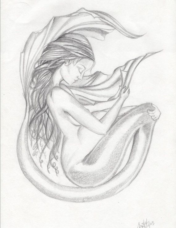 8 X 10 Pregnant Mermaid Drawing Black And White Print By Crystal