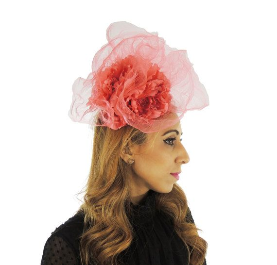 Coral Pink Feridhoo Fascinator Hat for Kentucky Derby Ascot  83907482d37