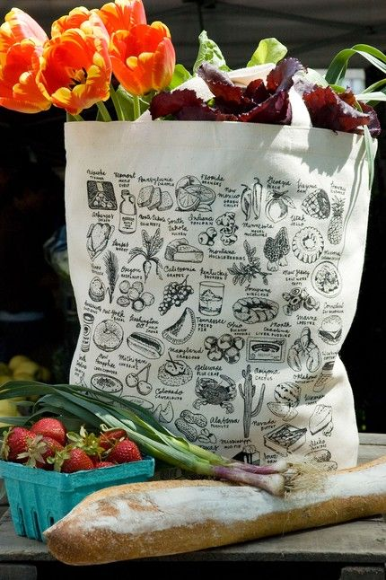 State-By-State Food Tote Bag: Tote bag with food illustrations