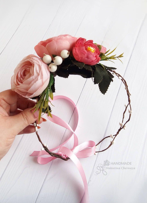 Peach flower crown bridal wreath hair boho silk wedding wreath peach flower crown bridal wreath hair boho silk flowers crown izmirmasajfo