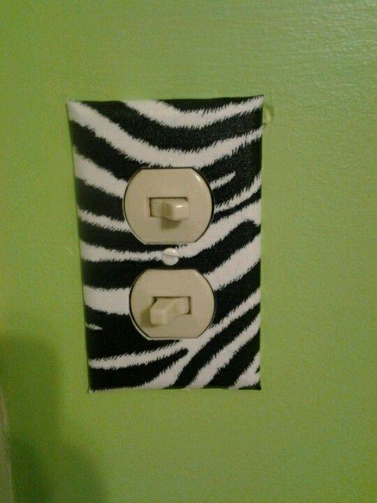 Zebra print lightswitch covers ohhh yeaa