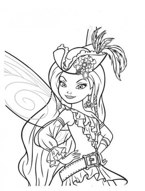 free tinker bell and the pirate coloring pages