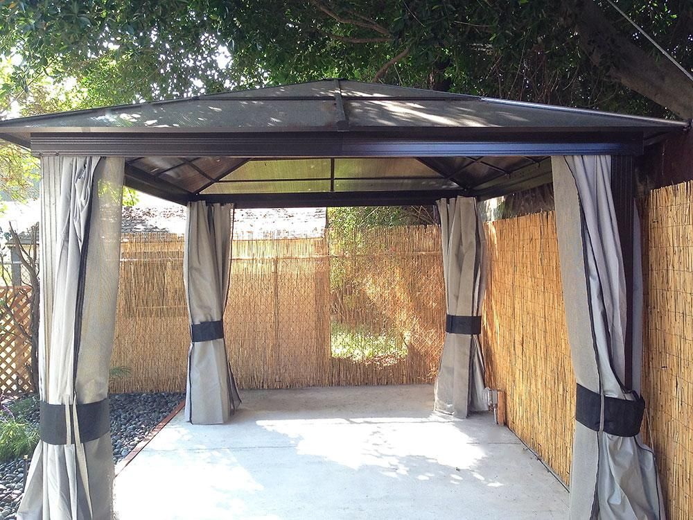 Builddirect Shade Cooling Hard Top Gazebos 10 X 12 Aluminum Gazebo With Fabric Curtains Grey Outdoor View Gazebo Aluminum Gazebo Builddirect