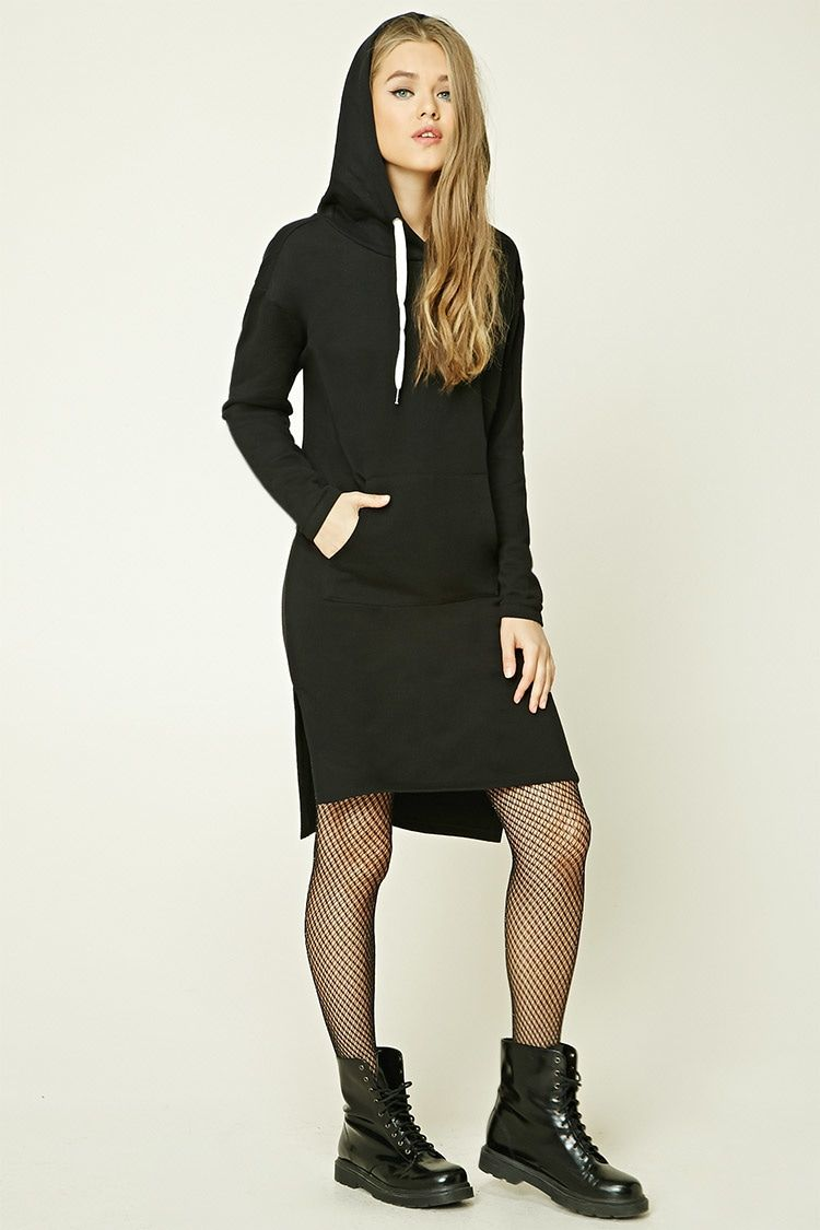 A hooded knit sweater dress featuring contrast drawstrings, fleece lining, a kangaroo pocket, and long sleeves.