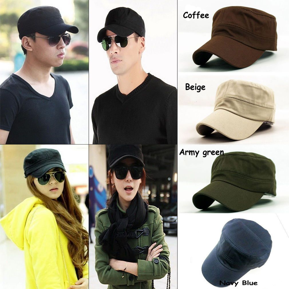 8d54e0596cc Fashion Plain Vintage Army Military Cadet Style Cotton Cap Hat Adjustable  Beus