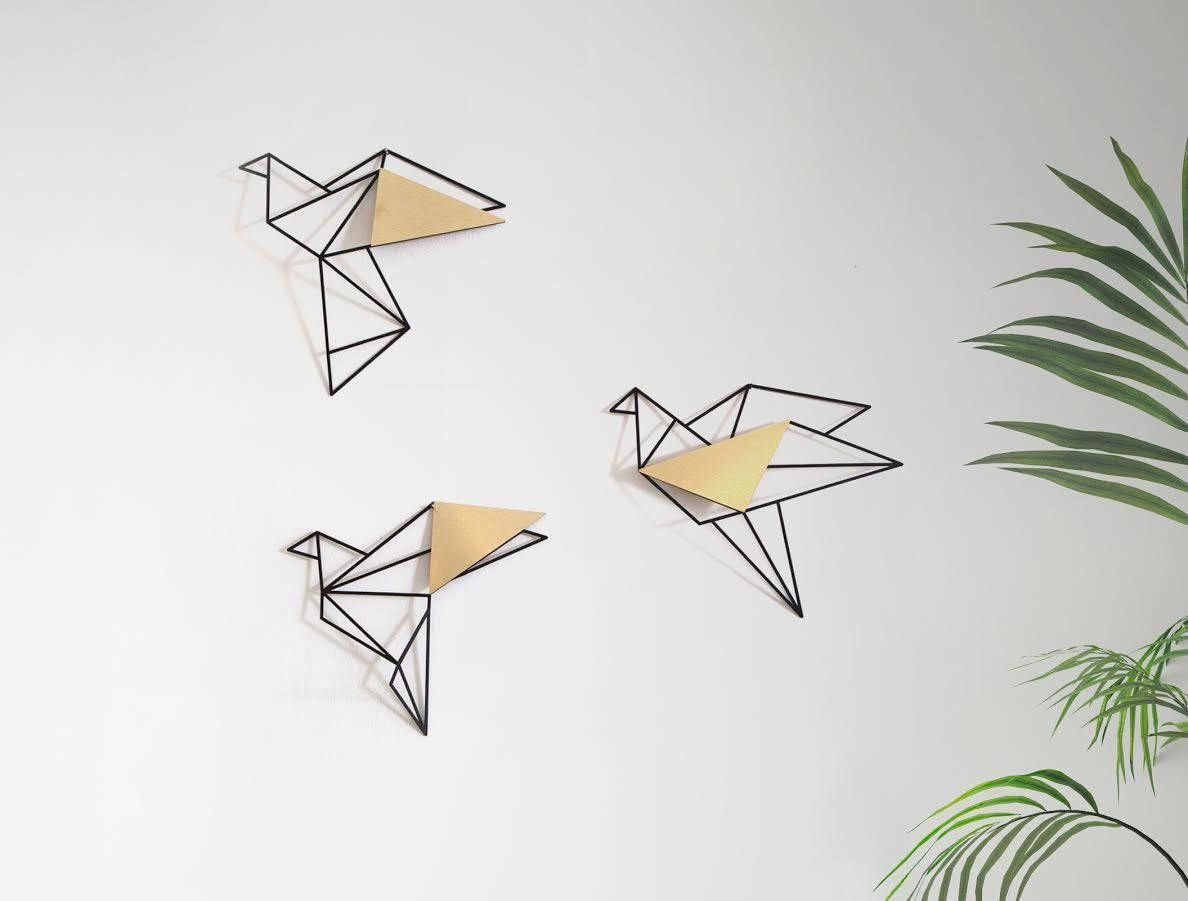 Set Of 3 Wall Art Geometric Birds Gold Metal Bird Wall Art Metal Birds Wall Decor Home Decor Gifts Metal Bird Wall Art Metal Flower Wall Art Bird Wall Decor