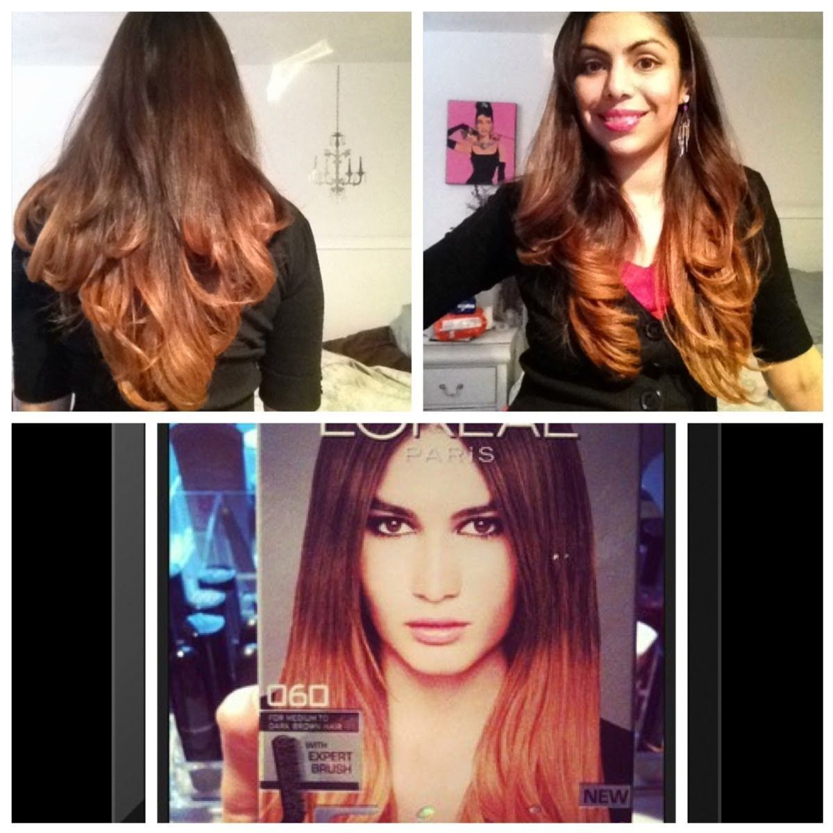 Hair color: brunette ombre hair dark brown to light ombra© demo.