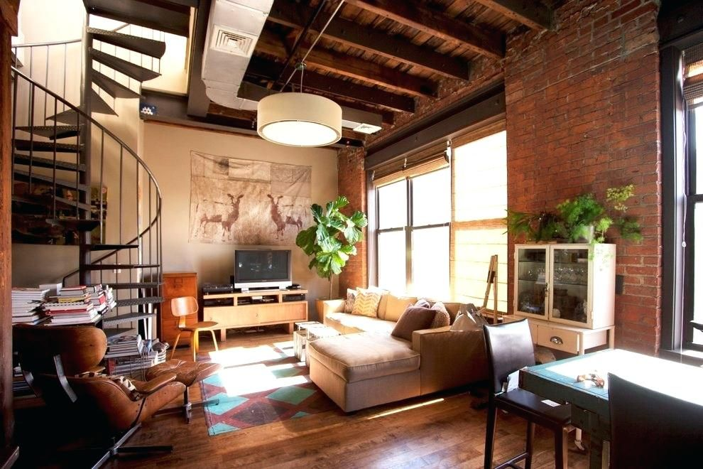 Warehouse Apartment Nyc Beige Chaise Lounge Style Apartments With Suede Sectional Sofas New And Living