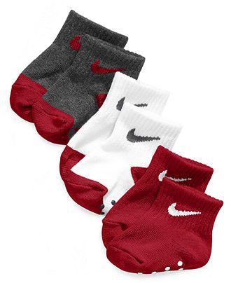 size 40 53c5f 8310b Nike Baby Socks, Baby Boys Simple Swoosh Non-Skid 3-Pack Socks - Kids SALE    CLEARANCE - Macy s