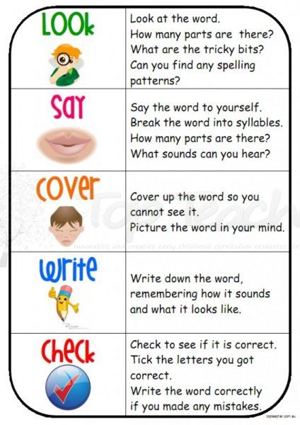 Look Say Cover Write Check Poster Teaching Spelling Spelling Activities Teaching Writing