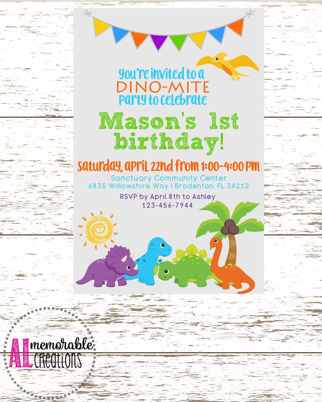 Dinosaur Birthday Invitation Boy Child Party Baby Dinosaurs