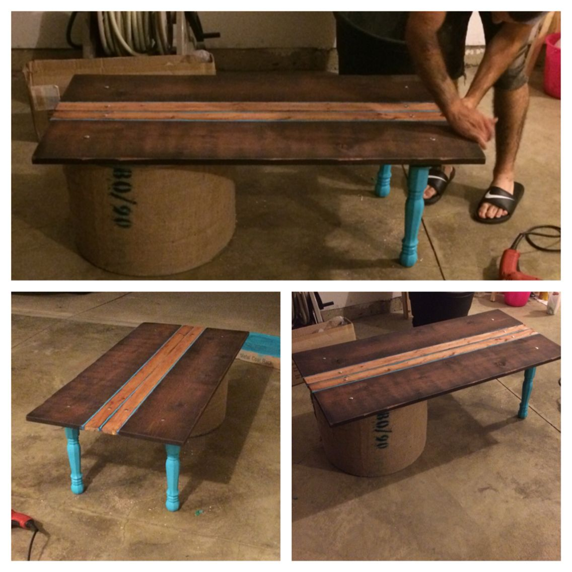DIY coffee table! Made from 4 pieces of wood, an