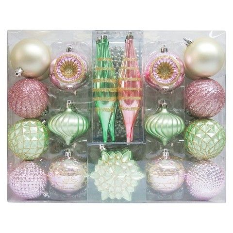 Christmas Ornament Set Pastels Variety 40 Ct  Christmas Magic