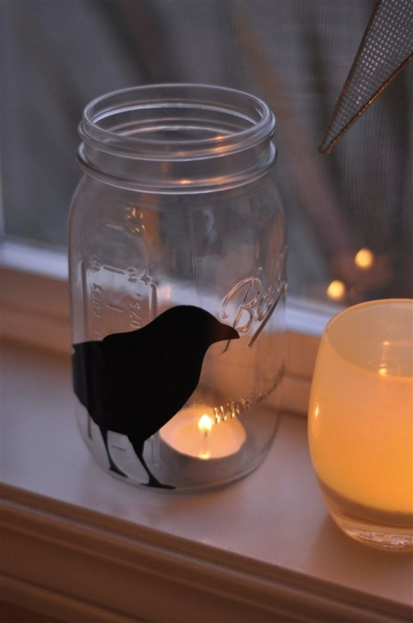 Print a silhouette on sticky paper and stick to jar add a candle halloween mason jar lantern make yourself easy diy home decor ideas holicoffee solutioingenieria Choice Image