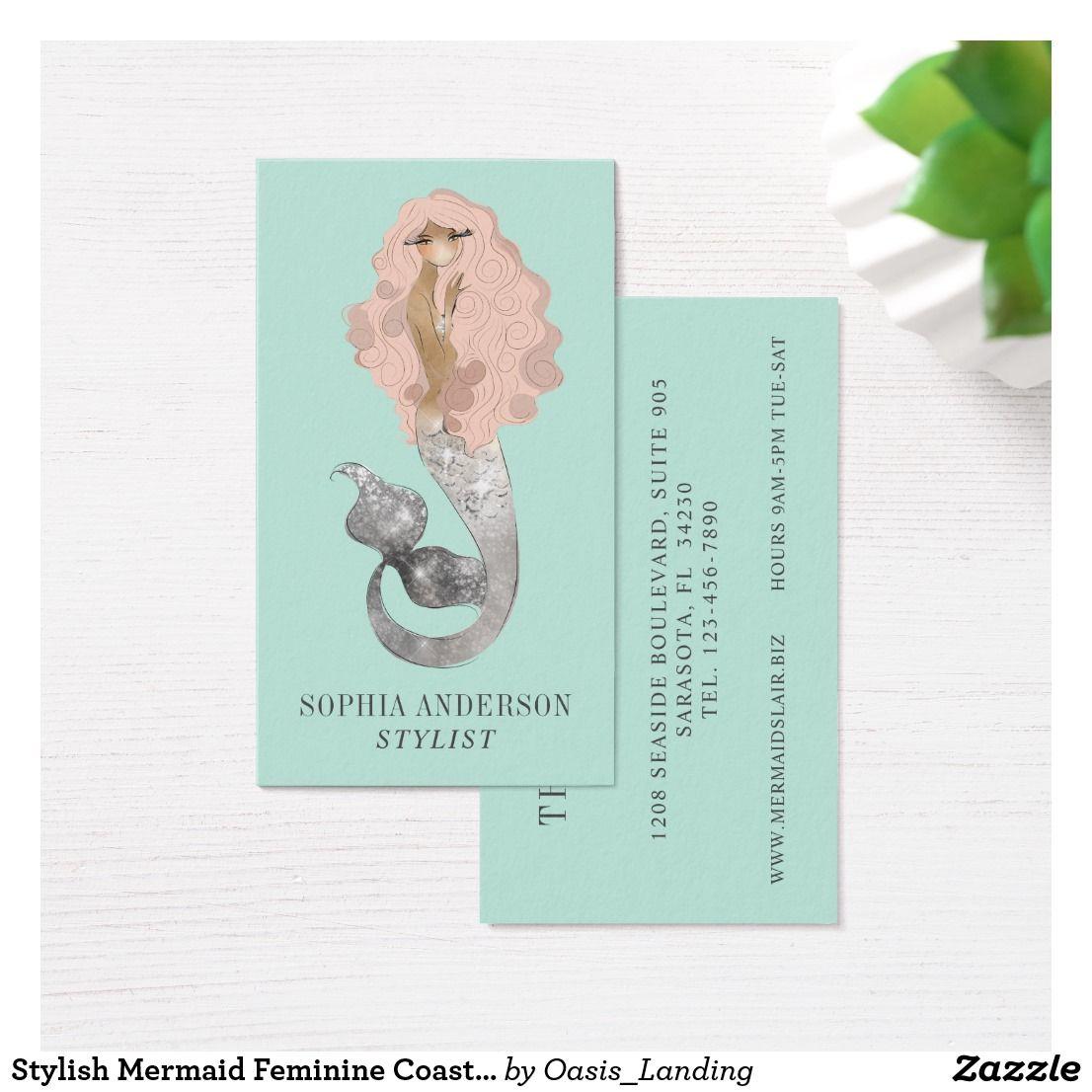 Stylish Mermaid Feminine Coastal Business Card | Business cards ...