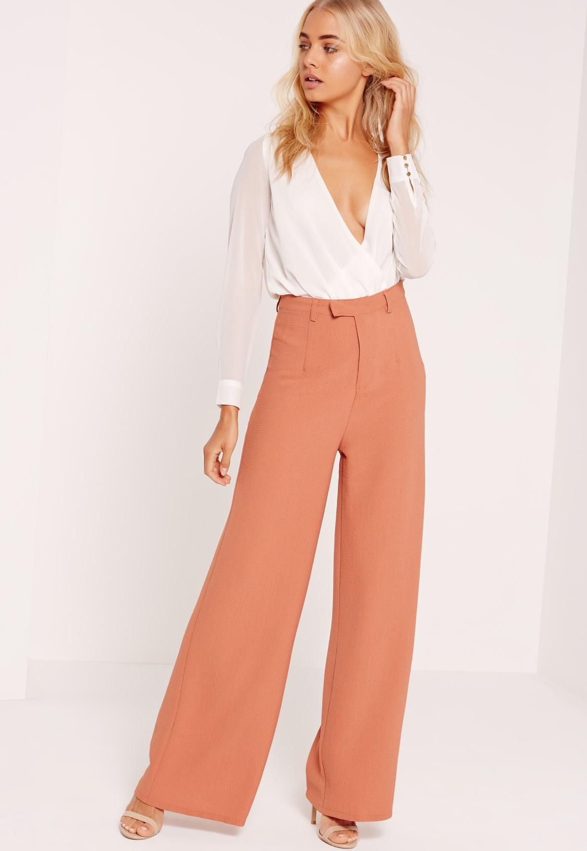 Missguided - Premium Crepe Wide Leg Trousers Nude   we heart it ... 23373aa2e51f