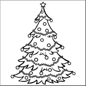 Clip Art Christmas Tree B W Decorated Christmas Tree Clip Art In Black And White Christmas Tree Coloring Page Christmas Tree Drawing Christmas Tree Clipart