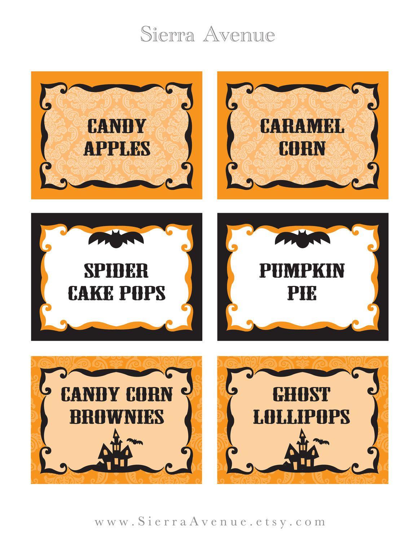 halloween food name tags | frameimage