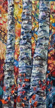 "Saatchi Art Artist Lena Owens; Painting, ""Aspen Grove (Palette Knife)"" #art"