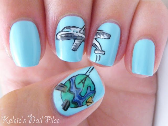 Travel airplane theme nail artlove it nailed it travel airplane theme nail artlove prinsesfo Images