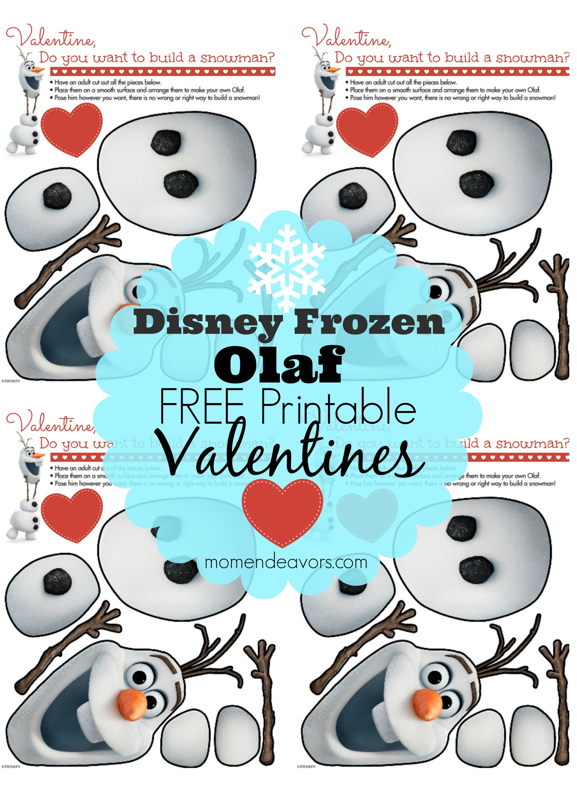 photo regarding Do You Want to Build a Snowman Printable named Cute+Disneys+FROZEN+Olaf+Absolutely free+Printable+Valentines+by means of