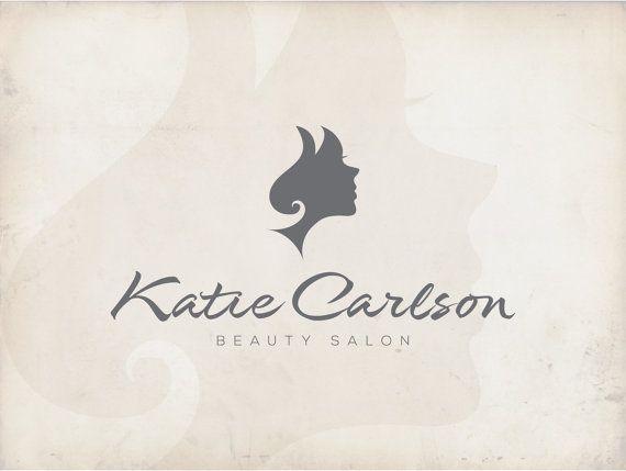 Logo Design Beauty Salon Hair Stylist Scissors Girl Custom Premade Watermark
