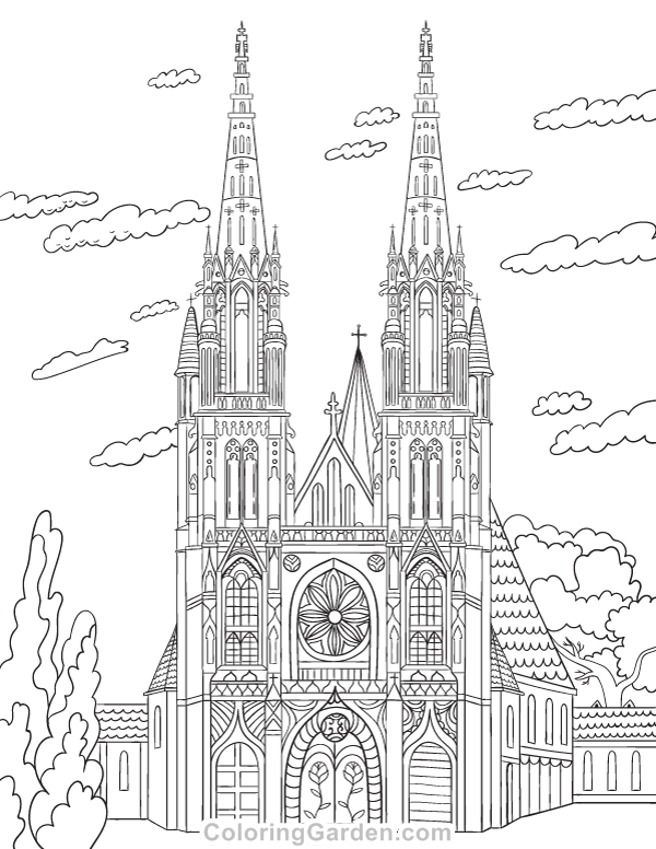 Free Printable Cathedral Adult Coloring Page Download It In PDF Format At Coloringgarden