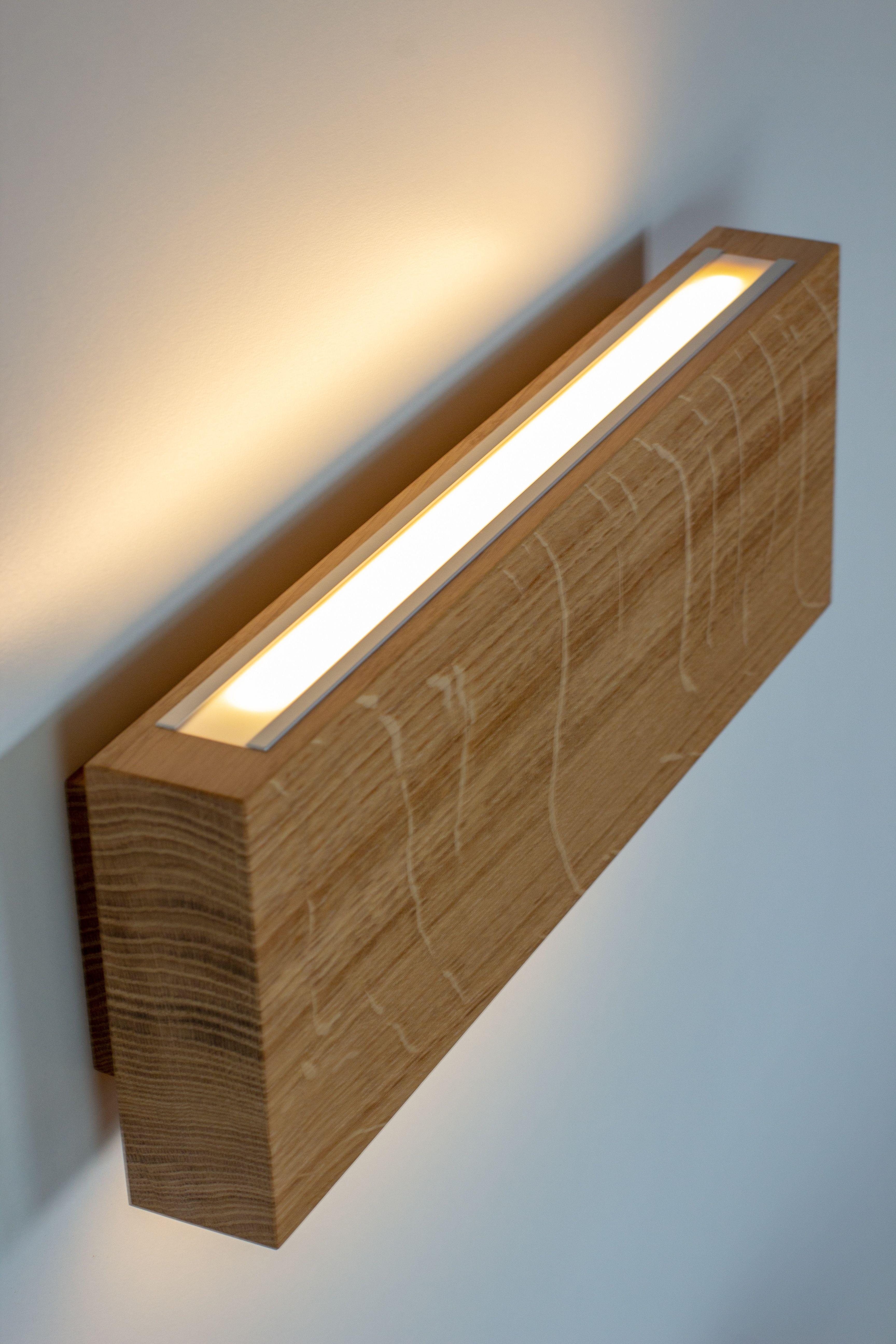 Wandleuchte Eiche Rechteck Wall Lights Solid Oak Wall Lamp
