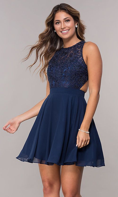 Short Embroidered-Bodice Hoco Dress by PromGirl