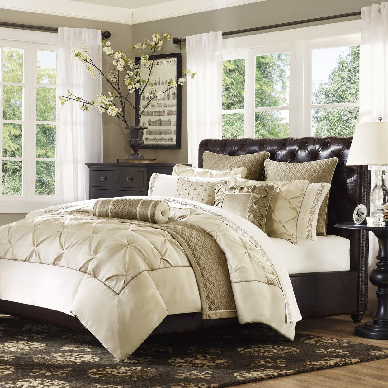 Gramercy Park Elise Mini 3 Piece Ivory Comforter Set Bed Bath