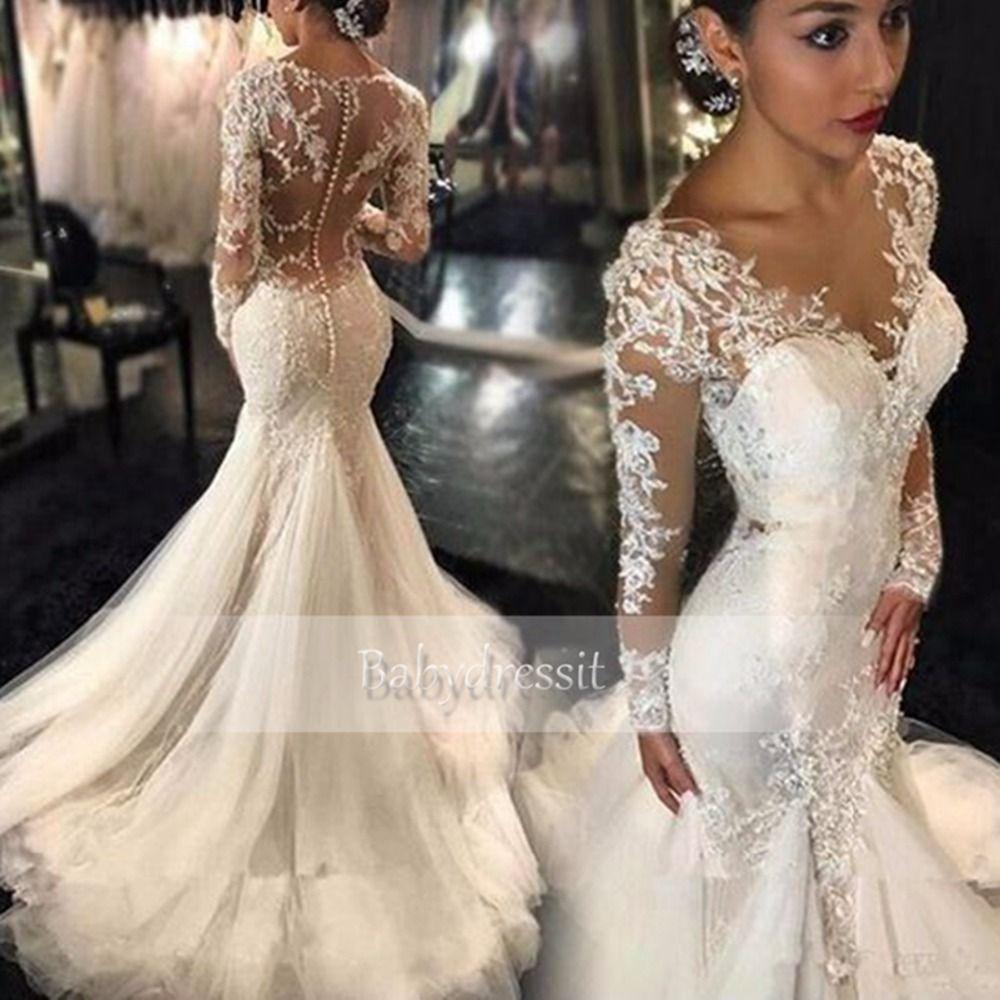 Günstige Atemberaubende Weiße Lange Hülse Hochzeitskleid 2017 Sheer ...