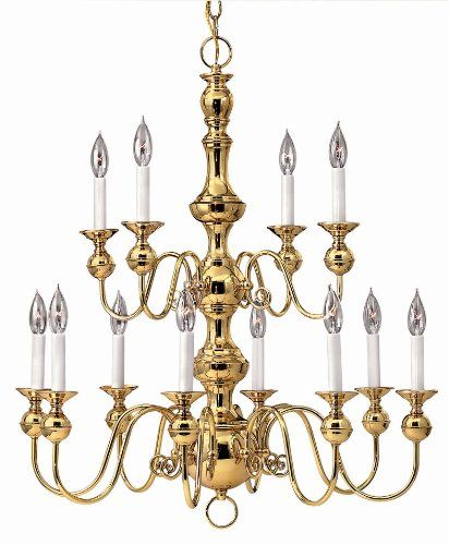 Hinkley Lighting 5129pb Williamsburg 12 Light Up Chandelier From The Virginian Collection Polished Br