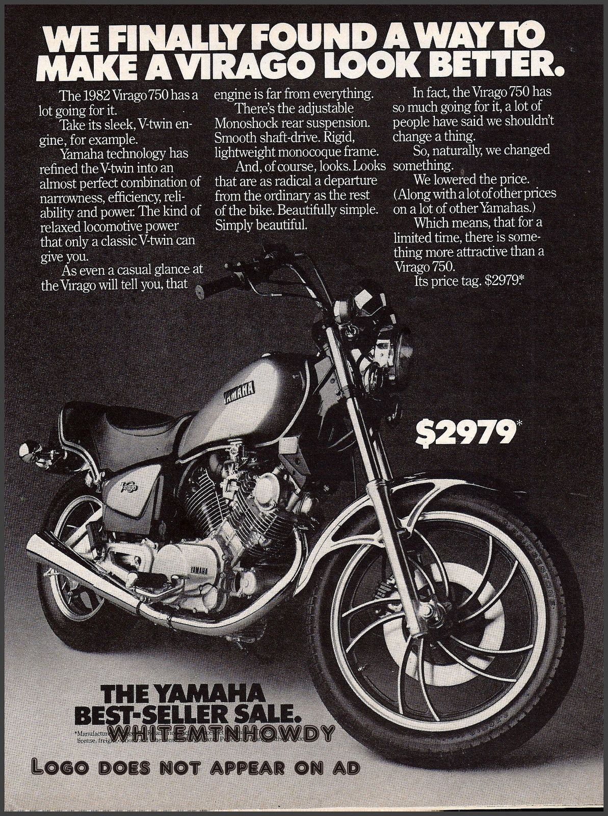 WE FINALLY FOUND A WAY TO MAKE A VIRAGO LOOK BETTER. | 1982 Yamaha Virago  750 #Ad #Vintage #motorcycle #advertisement #japan