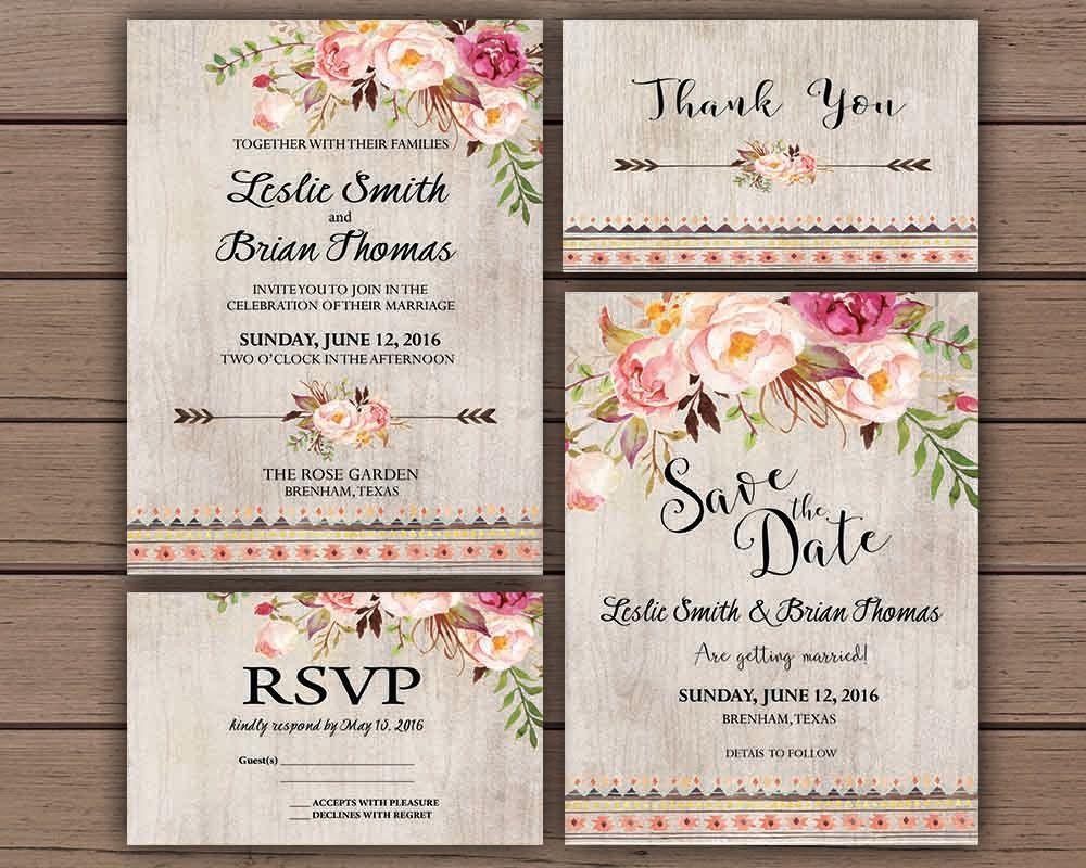 Summer Wedding Invitations: Floral Wedding Invitation Printable Boho Chic Wedding