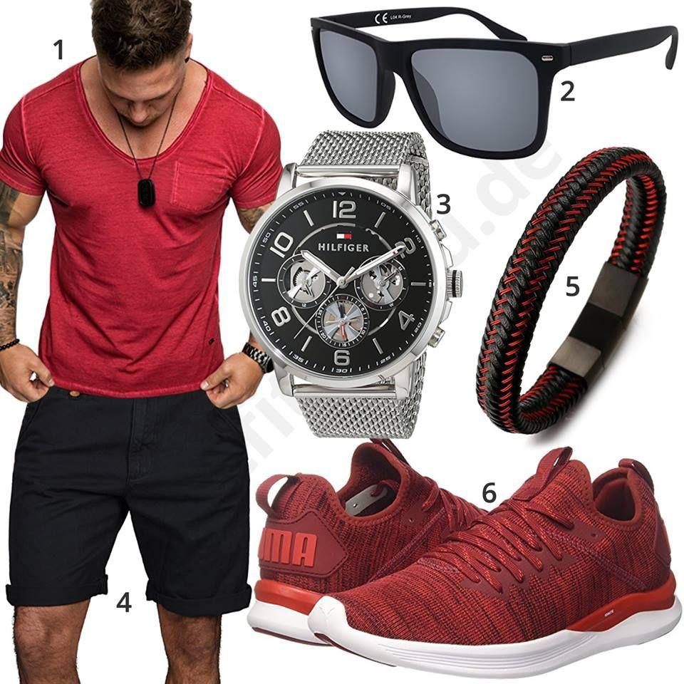 Schwarz Roter Sommer Style für Männer | Rot schwarz, Herren
