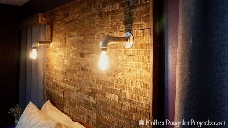 DIY Pallet Headboard With Wood Tile | Headboard with ...