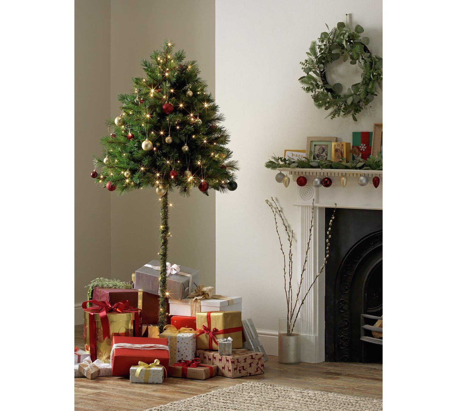 Buy Argos Home 6ft Half Parasol Christmas Tree Green Christmas Trees Argos Alternative Christmas Tree Half Christmas Tree Green Christmas Tree