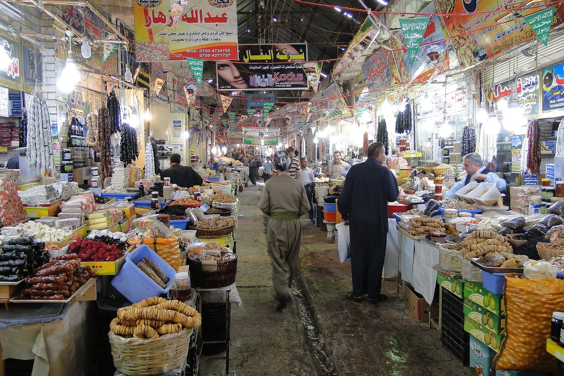 A bazaar in Erbil (ھەولێر Hewlêr), the capital of Iraq's Kurdistan region.