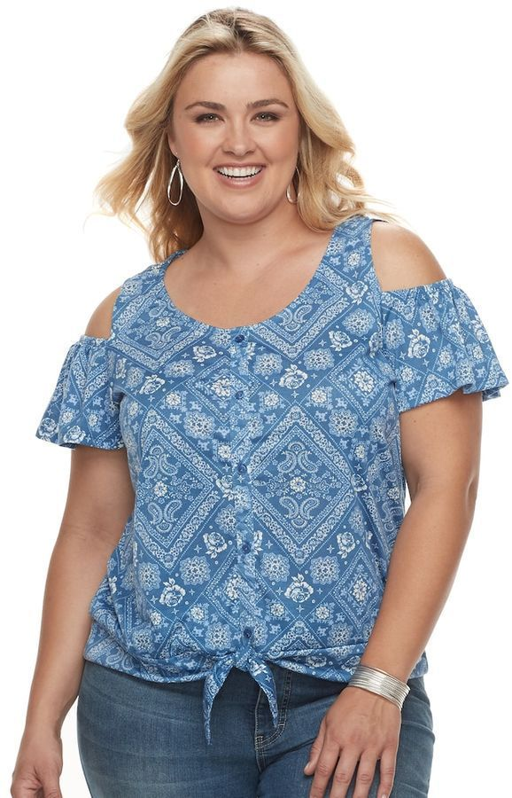 1a8cd343038915 French Laundry Plus Size French Laundry Cold-Shoulder Tie Front Top