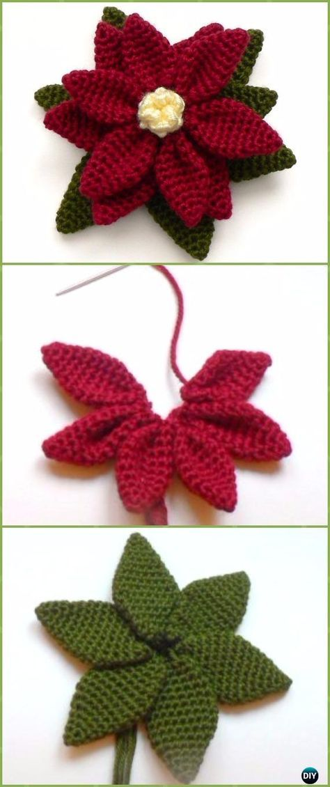 Crochet Poinsettia Christmas Flower Free Patterns | Häkelmuster ...