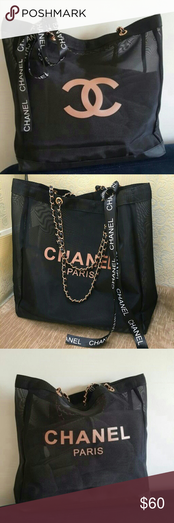 79ab8912d245 Chanel Rose Gold Chain Mesh Tote Bag Tote has Rose Gold color CC logo  printed on