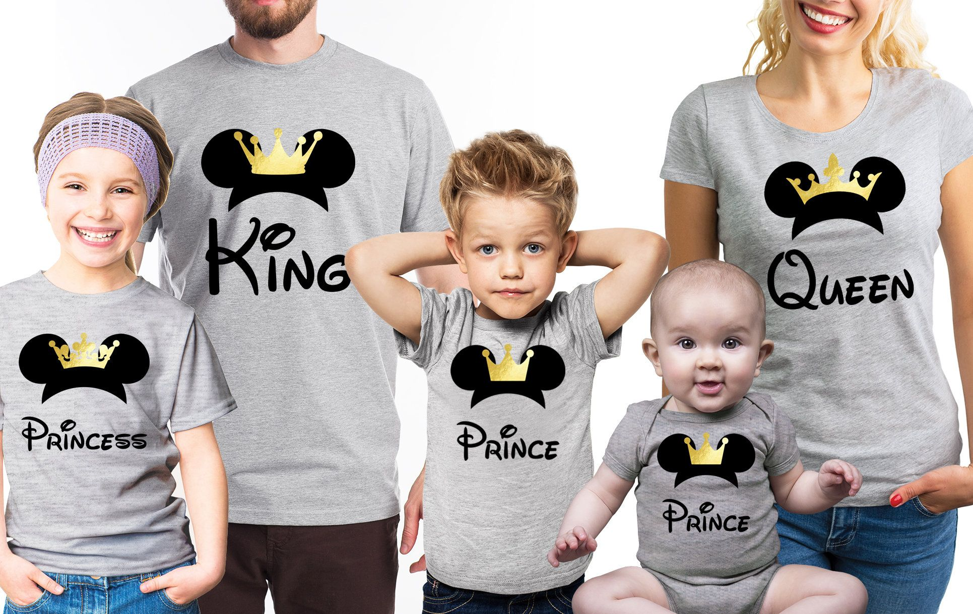 0c5db4bc6654f Family Mickey Mouse King, Queen, Prince, Princess grey T-shirts set. Set of  3, 4 or 5. by FizzyTops on Etsy