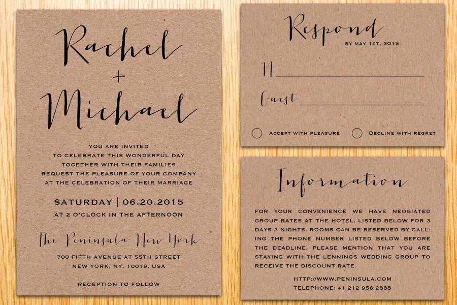 Digital Printable Kraft Paper Wedding Invitation Suite Classic ...