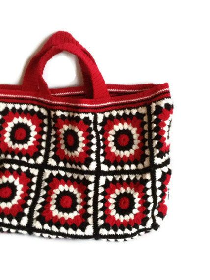Items similar to Crochet bag - Black red cream business tote bag, knit bag, women handbag on Etsy